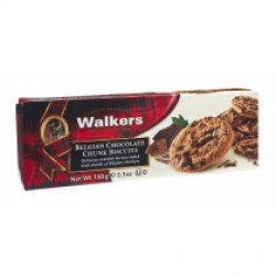 Biscuits - Galletas  con trozos de chocolate Belga 150 gr, Walkers (pack de 2 unidades)
